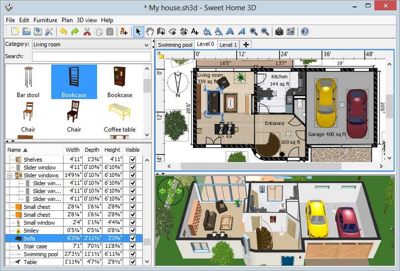 Sweet Home 3D - бесплатный инструмент для 3D-расстановки мебели